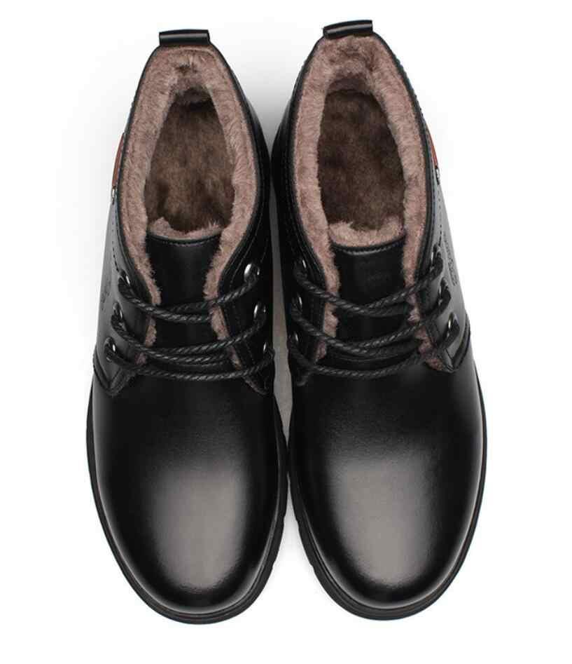 Botas hombre Chelsea Stiefel Männer Winter sicherheit Schuhe Schwarz Split Leder Stiefel Herren Schuhe Warm Plüsch Pelz Winter Stiefel Für männer