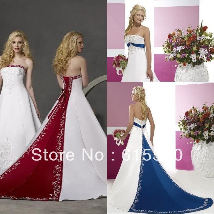 Royal blue silver and white wedding dress