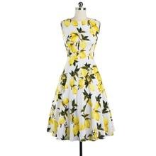 Lemon Printing Swing 1950s Dress 2016 Lemon Printing Midi Length Vintage Dresses O-Neck Ball Gown Women Plus Size Summer Dress