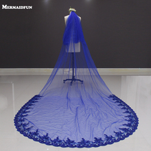 2017 New Lace at Bottom Two Layers Royal Blue 3 Meters Long Wedding Veil Voile Mariage Bridal Veil with Comb