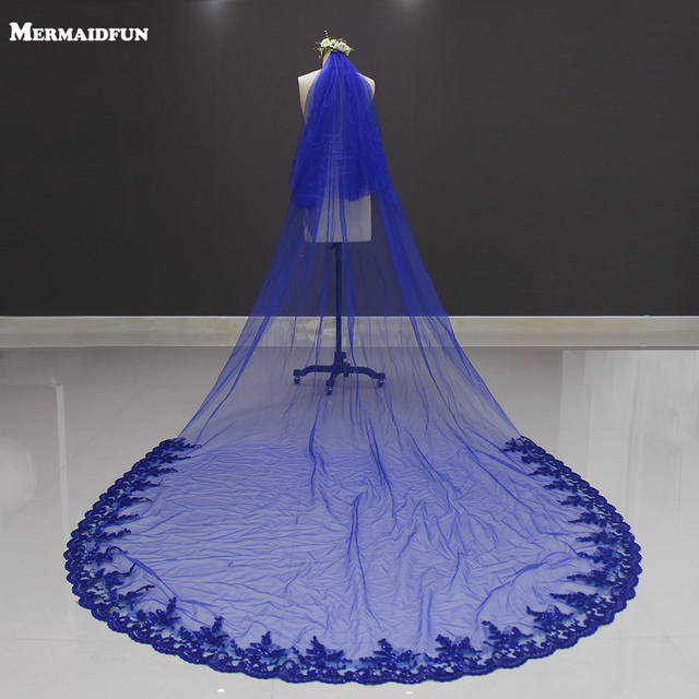 2019 New Lace at Bottom Two Layers Royal Blue 3 Meters Long Wedding Veil Voile Mariage Bridal Veil with Comb