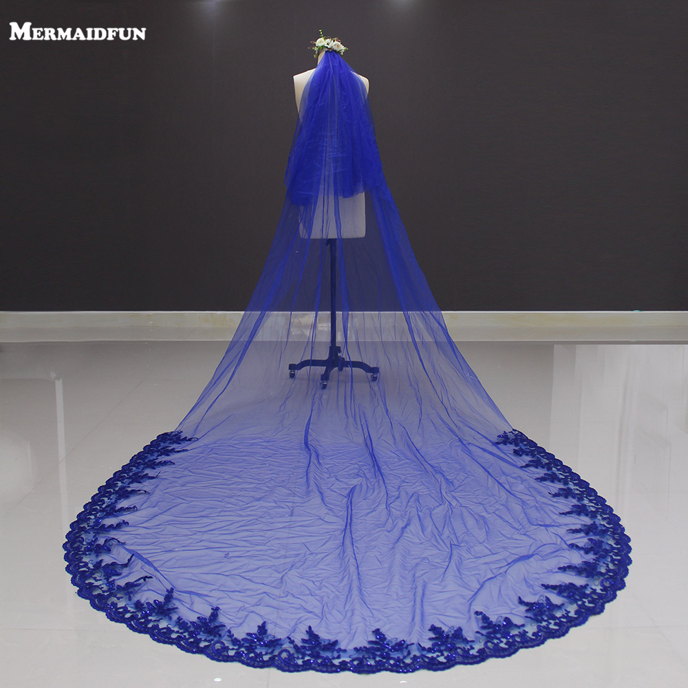 New Lace At Bottom Two Layers Royal Blue 3 Meters Long Wedding Veil Voile Mariage Bridal Veil With Comb