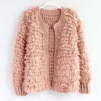 Japanese Loose Circle Yarn Mohair Sweaters Manual Knitting Knitting Cardigan Female Coat Sweater