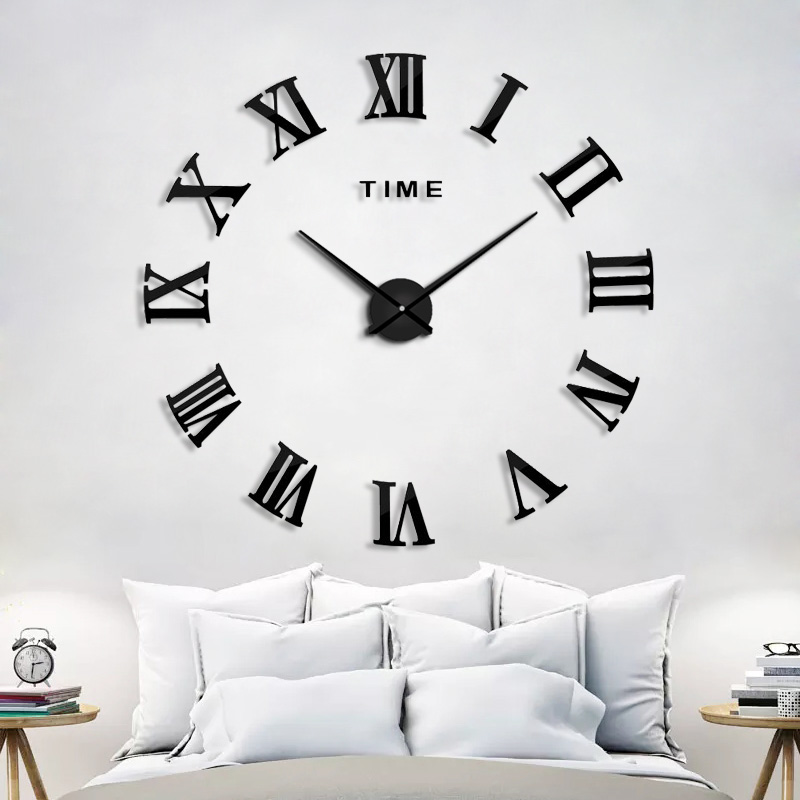 2019 New HomeDecoration Wall Clock Big Mirror Wall Clock Modern Design Large Size Wall Clocks DIY  Wall Sticker Unique Gift 130(China)