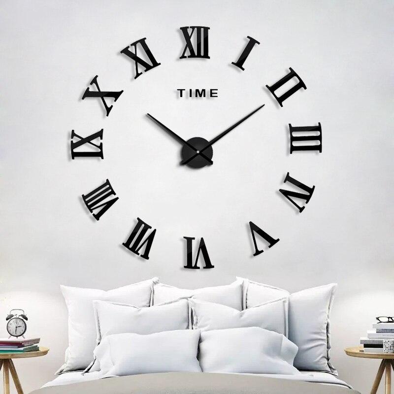 2019 nouveau homedécoration horloge murale grand miroir horloge murale Design moderne grande taille horloges murales bricolage Sticker mural cadeau Unique 130