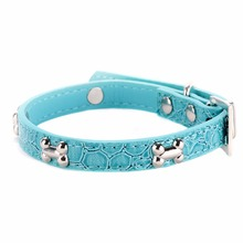 Puppy Buckle Leather Collar Various Color Pet Dogs Bone Cat Studded Neck Strap
