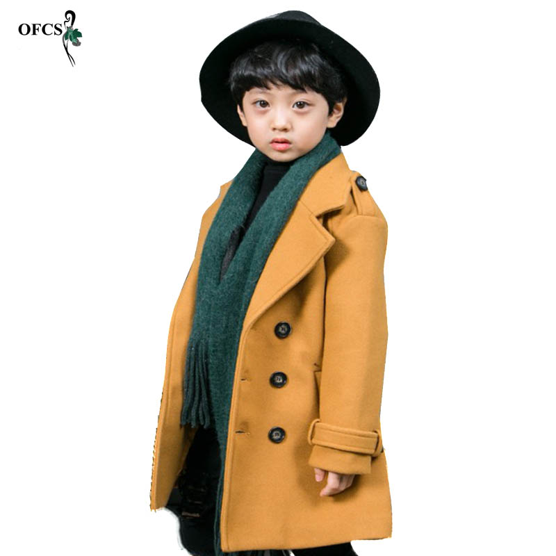 OFCS New Design Children Wool Coats Boy Thicken Warmer Double-Breasted Overcoat Solid Color Kids Winter Fashion Wool Jackets 16T 2018 new fashion suede lamb wool women coats double breasted warm solid thick long overcoat casual winter cotton jackets female