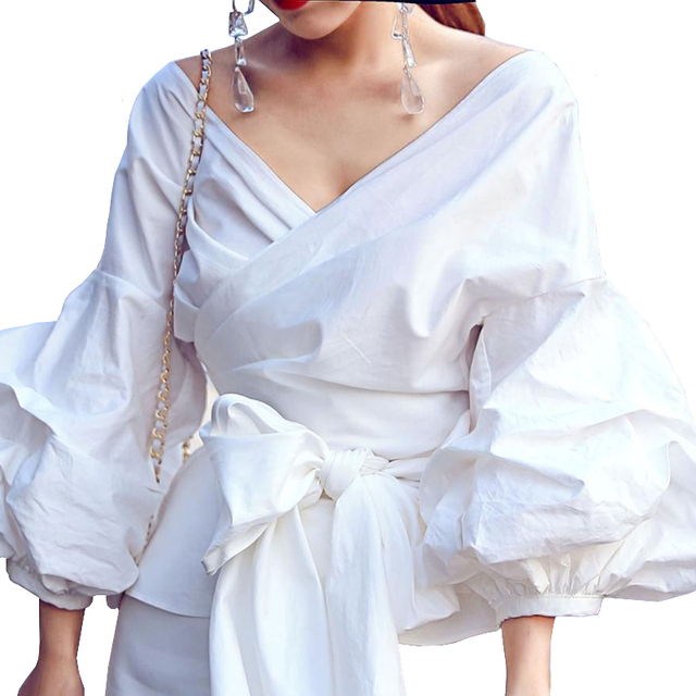 69ad163b4e5ab Vintage Office Top For Women Off Shoulder Blouse Bubble Sleeve Bow Kimono  Female Blouse White Shirt Ladies Tops Chemise Femme