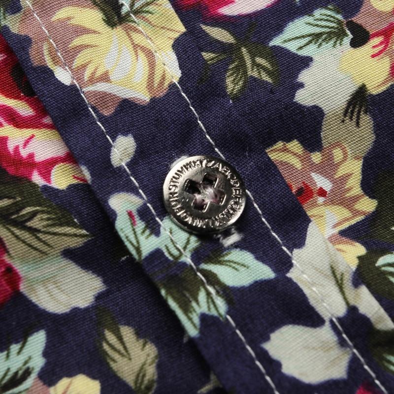 2018 New Shirts Men Casual Shirt Men Masculino Flower Color Short Sleeve Shirts Cotton Shirts Homme Slim Fit Male Big Size 5XL