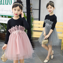 Girls dress long-sleeved baby clothes spring and autumn stitching new casual mesh children's clothing