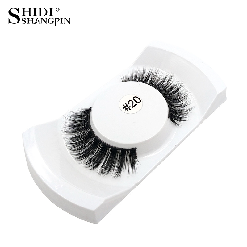 1 Pair Natural False skropstas aplauzums 3D Mink Lashes Skropstu pieaudzēšana Fake Lashes Strip Faux Eye Lashes Mink skropstas # 20