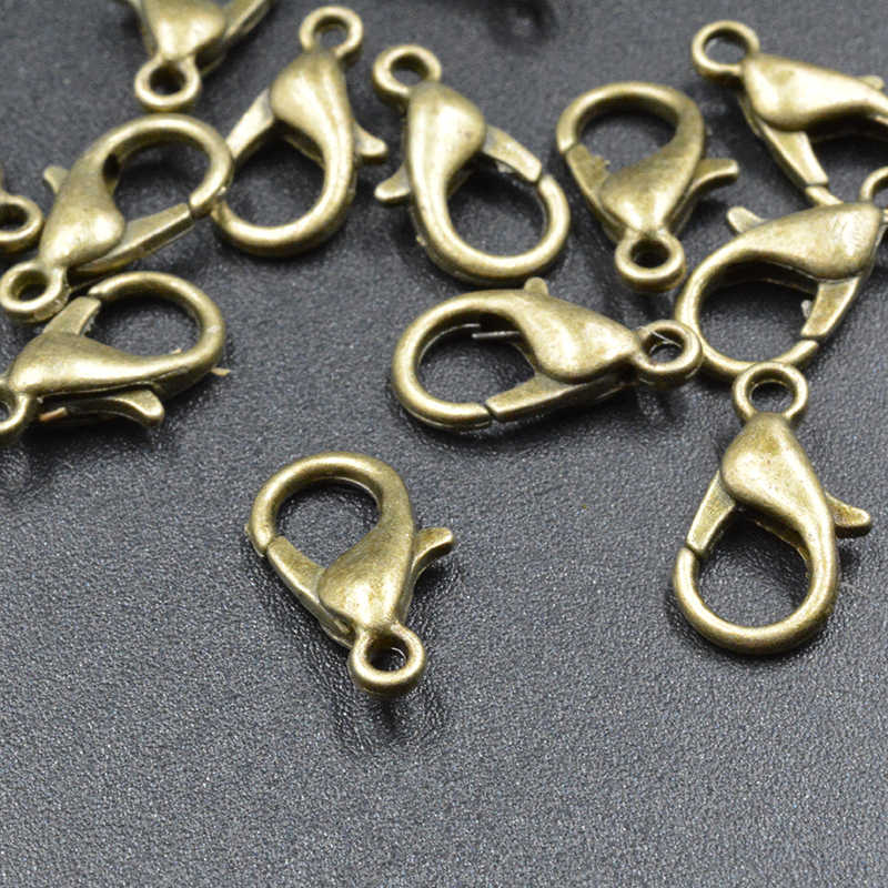 FLTMRH 20 قطعة 10 مللي متر مجوهرات الأزياء النتائج ، سبائك العتيقة برونزية/الذهب مشبك قفل السنانير ل قلادة وسلسلة سوار
