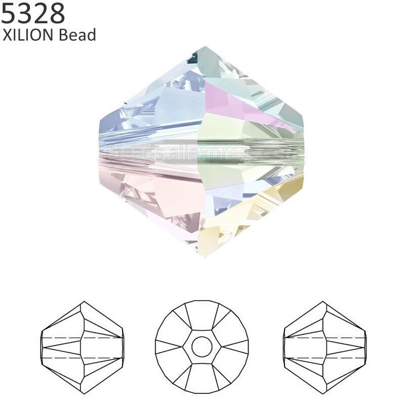 100% Оригинальные кристаллы от Swarovski 5328 XILION Bicone бусины из Австрии свободные бусины горный хрусталь для DIY ювелирных изделий 2018