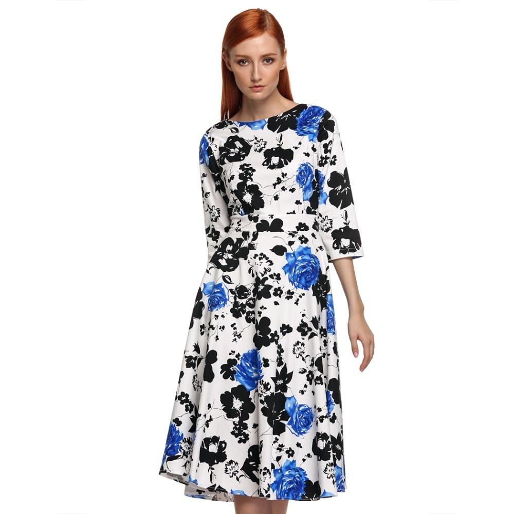 ACEVOG Marka 1950s Sukienka Jesień Wiosna 3/4 Rękawem Kobiety Moda - Ubrania Damskie - Zdjęcie 6