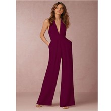 Women Jumpsuit Deep V Halter Sleeveless Sexy Elegant Jumpsuits Casual Wide Leg