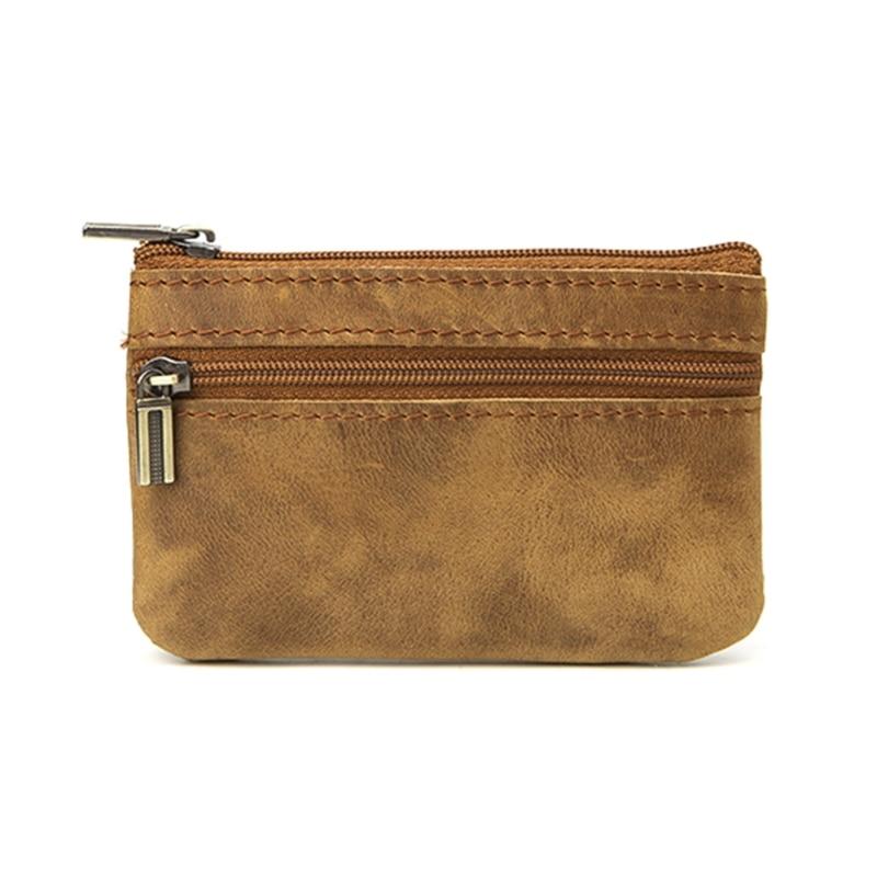 Retro Cowhide Slim Key Holder Organizer Purse For Women Men 2018 Zip Around Wallet Solid New Fashion Unisex Handbag 11.5x7.5cm