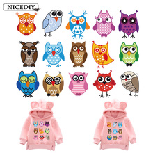 Nicediy Small Owls Patch Heat Transfer Iron On Patches On Clothes Stickers Print By Household Irons Badge Applique Washable DIY цена