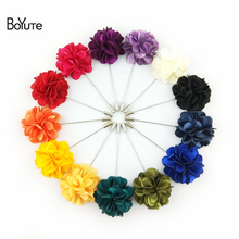 BoYuTe (5 Pieces/Lot) High Quality Hand Made Fabric Flower Lapel Pin Fashion Men's Suit Wedding Brooch