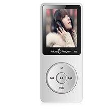 Ultrafino 8 GB Reproductor de MP3 con Altavoz de 1.8 Pulgadas de Pantalla Puede Jugar 80 horas Original IQQ X02 con FM Radio E-Book Reloj de Datos blanco