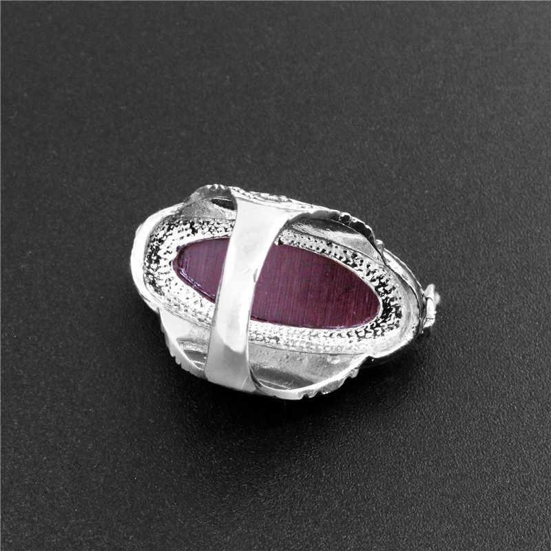 ดอกไม้วงรีแหวนโอปอลสำหรับผู้หญิงวินเทจดูชุบเงินโบราณบุคลิกภาพเครื่องประดับแฟชั่น