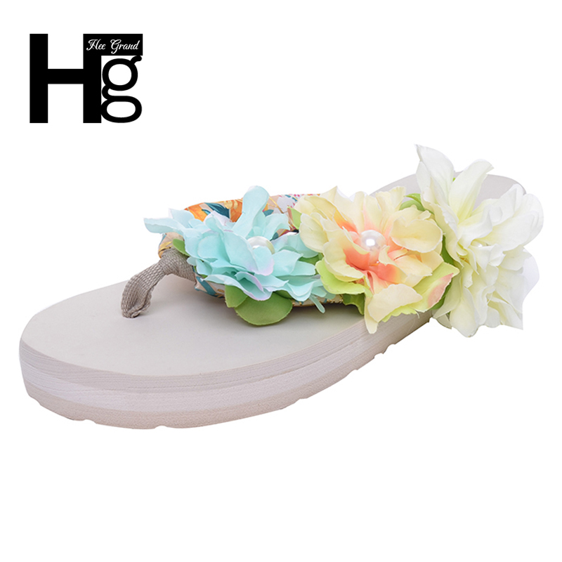 HEE GRAND Bohemia Flowers Woman Beach Flip Flops Summer Style Slides Slip Resistant Slippers Platform Shoes