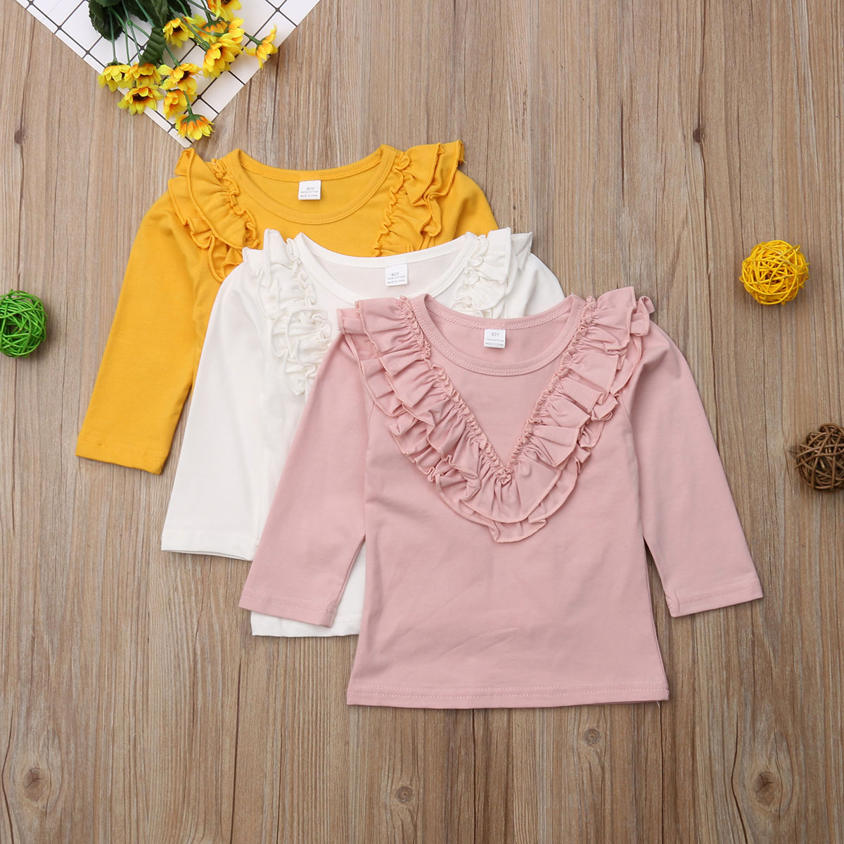 PUDCOCO Baby Girls Cotton Long Sleeve T-shirt 0-5 Year