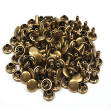 50sets Double Cap Sewing Metal Rivets Punk Spike Decoration Snap Fastener Press Button Craft Screw Nail Strap Rivets for Leather(China)