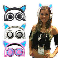 Foldable Cat Ear headphones Gaming Headset Earphone with Glowing LED Light for Computer PC Laptop Cell phone gift for girls kids(China)