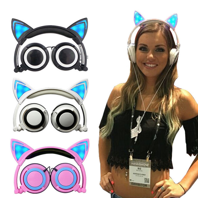 Foldable Cat Ear headphones Gaming <font><b>Headset</b></font> Earphone with Glowing LED Light for Computer PC Laptop Cell phone gift for girls kids