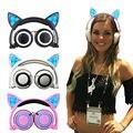 Gato dobrável fones de Ouvido Gaming Headband Fone de Ouvido com Luz Brilhante para PC Portátil telefone Celular de presente de Natal para crianças meninas