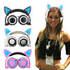 Foldable Cat Ear Headphones Gaming Headband Earphone With Glowing Light For PC Laptop Cell Phone Christmas
