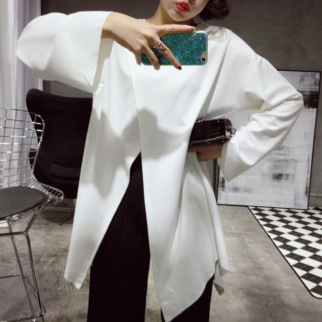 [soonyour] 2017 spring and summer new goods before and after the cross two open loose loose long T-shirt female A00770
