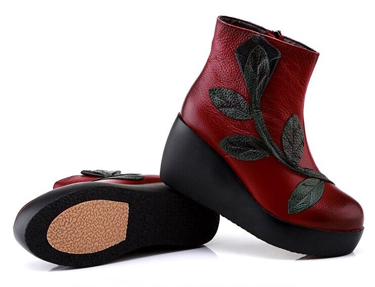 Cheville Véritable Style Main Ethnique À Bottes En Noir Chaussures La Pour Maman rouge Vintage Rétro Femmes Cuir XSr5qrBw