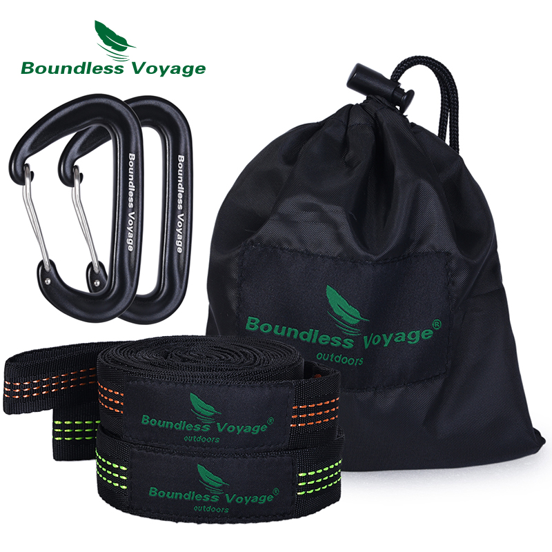 Boundless Voyage 2 Pack Hammock Tree Straps With Carabiner Outdoor Camping Hanging Straps Swing Rope For Backyard Garden