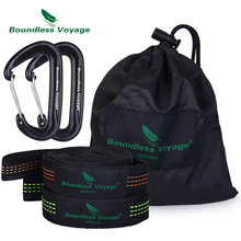 Boundless Voyage 2 Pack Hammock Tree Straps with Carabiner Outdoor Camping Hanging Straps Swing Rope for Backyard Garden sunnydaze tree friendly adjustable hammock hanging straps