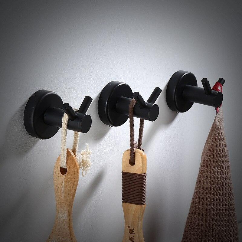 Black Hook Wall Mount Bathroom Towel Hooks Aluminum Coat Hook Wall Hooks Decorative