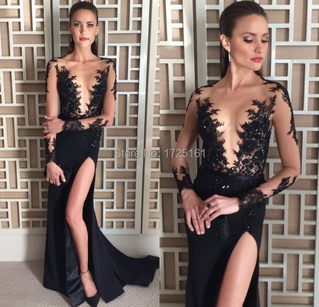 High Slit Sexy Black Appliques Beading Long Prom Dress Customized