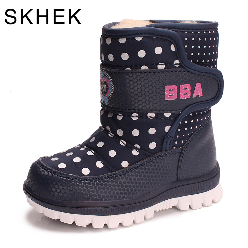 SKHEK  botas boots winter boy girl rubber snow boots children s shoes flat with plush cotton warm baby shoes1751-in Boots from Mother & Kids on AliExpress