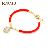 Lucky Full Tiny Austrian Crystal With Gold Plated Cute Chicken Design Red Thread String Rope