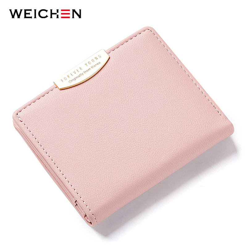 WEICHEN Women Small Wallet and Purses Solid Simple Ladies Short Wallets Lady Girls Coin Purses Credit Card Bag Carteira Carteras