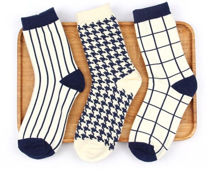Men's socks women socks classic Plover grid stripe simple wild business man lady couple socks cotton socks