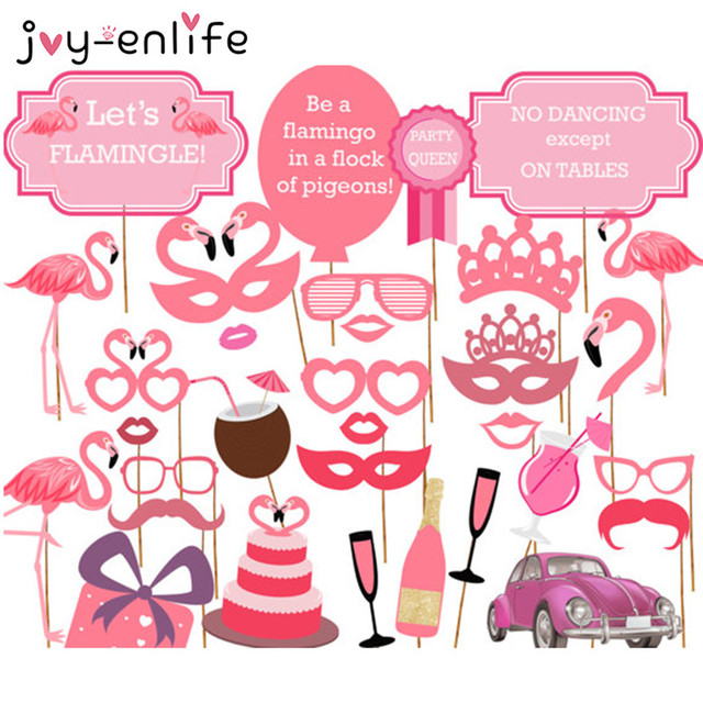 JOY-ENLIFE 32pcs Flamingo Party Mask Photo Booth Props Bridal Shower Decor Just Married Wedding Party Hen Night Party Supplies