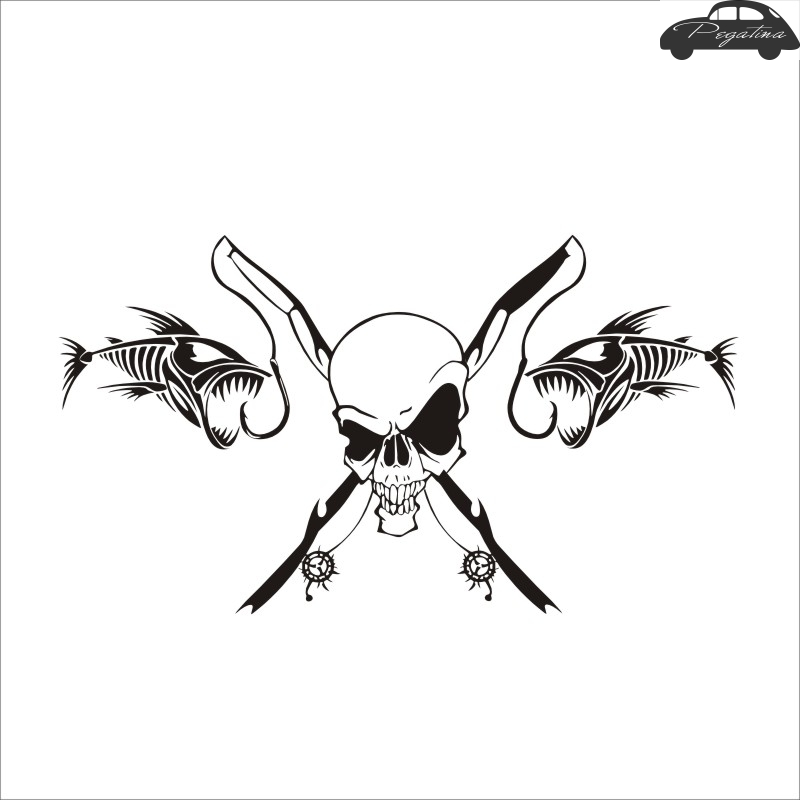 Pegatina Skull Decal Angling Tackle Shop Hollow Sticker Fish Fishing Boat Car Window Vinyl Decal Funny Poster Motorcycle day of the dead girl skull head vinyl wall decal sticker