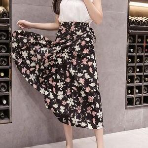 Image 3 - 夏プリント花シフォン女性スカートかわいい韓国カジュアル帝国スカート原宿 Mid ふくらはぎ弓かわいいハイウエストヴィンテージスカート