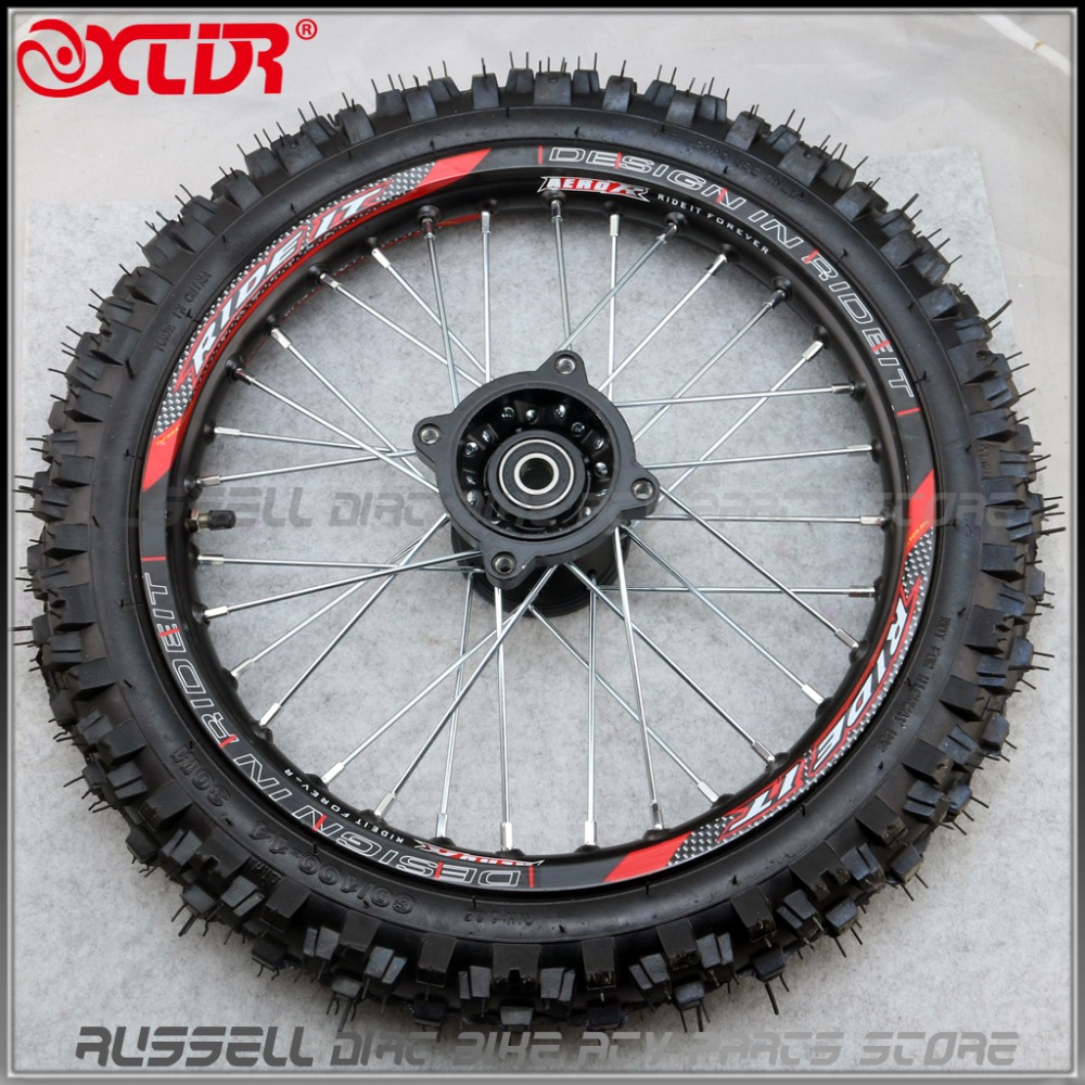Front 14inch Pit Bike wheels GuangLi 60 100 14 Tyre Black Aluminum Alloy Rims with 32