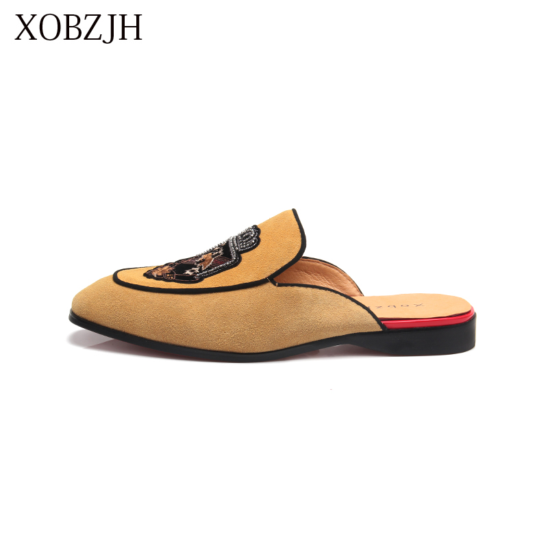 XOBZJH 2019 New Men Shoes Handmade Leisure Style Man Summer Party Shoes Men Yellow Flats Leather Loafers Shoes Size Shoes