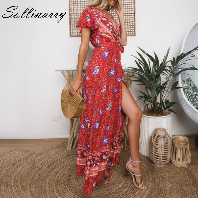 Sollinarry Red Flower Retro Women Dress Floral Beach Summer Casual Dresses Sets Square Collar Bohemian Dress Vestidos