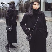 Genuo 2018 New Spring Woolen Coat Women Long Female Black Winter Overoat Outerwear for Elegant Top