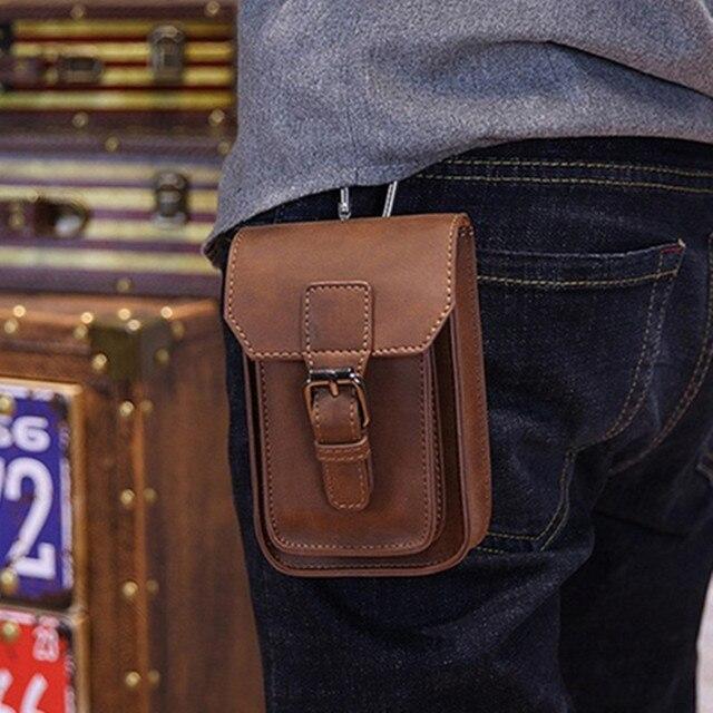 c3666a1f354 QIGER 5.5 pouces Crazy Horse cuir hommes taille sac pochette ceinture  crochet boucle sacs Cigarette clé