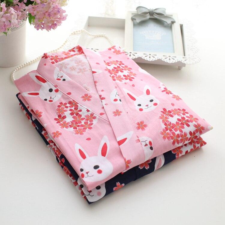 Image 3 - Весна Сакура кроличье кимоно пижамы наборы для женщин 100% хлопок двойной марли с длинным рукавом пижамы японское кимоно для женщин-in Комплекты пижам from Нижнее белье и пижамы on AliExpress - 11.11_Double 11_Singles' Day